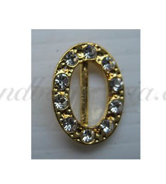 oval golden rhinestone buckle