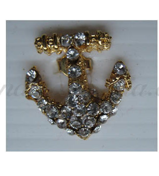 small anchor rhinestone brooch