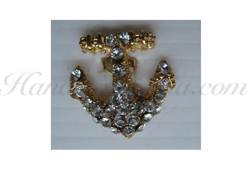small anchor rhinestone brooch