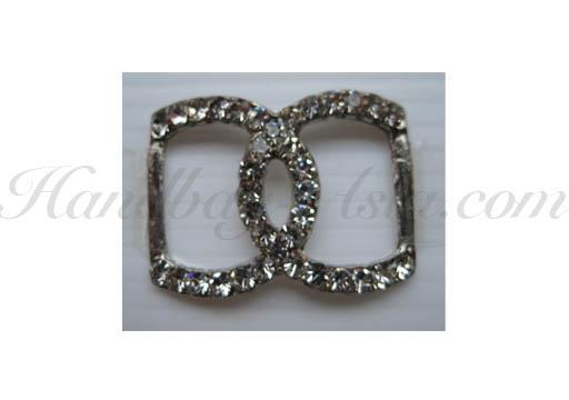 silver plated rhinestone buckle