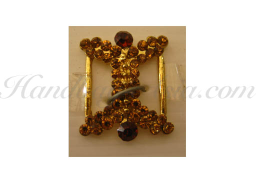 golden crystal buckle with brown rhinestones