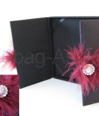 black wedding box covered with silk, embellished with feather embellishment