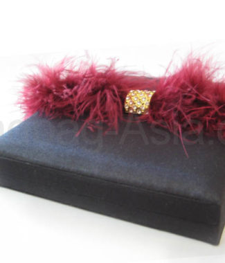 Black feather embellished wedding invitation box