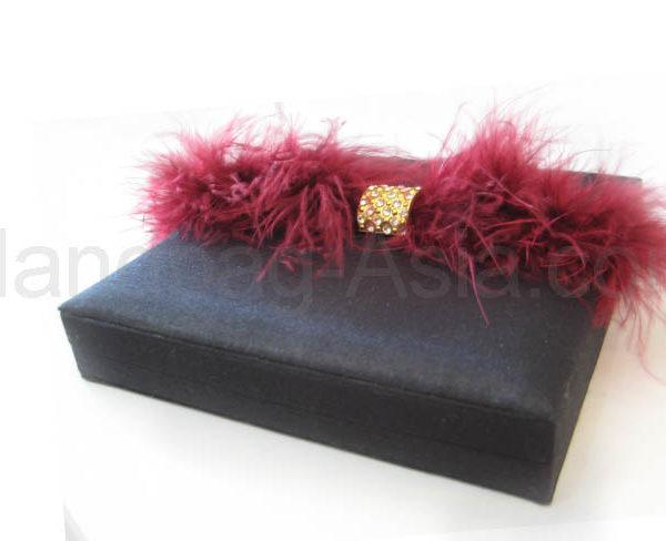 Black feather embellished wedding invitation box