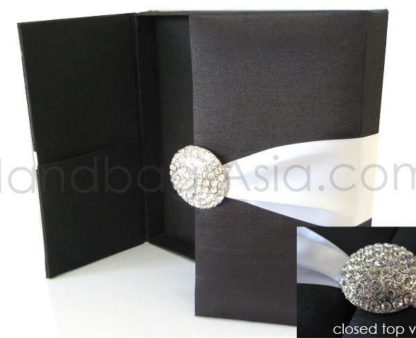 black wedding box with pair brooches