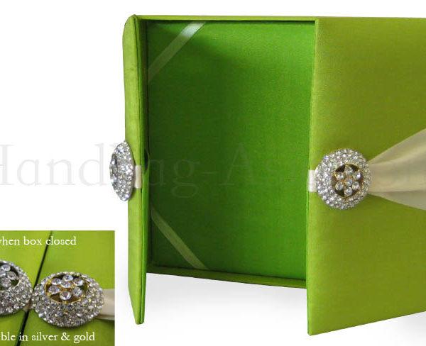 bright green boxed wedding invitation
