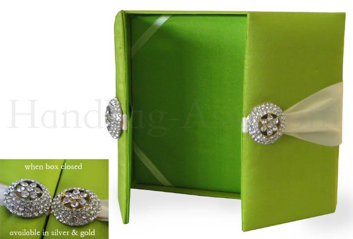 Boxed Wedding Invitations Wholesale: Light Green Embellished Gatefold Wedding Invitation Box