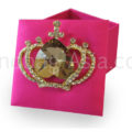 pink wedding favor box with brooch