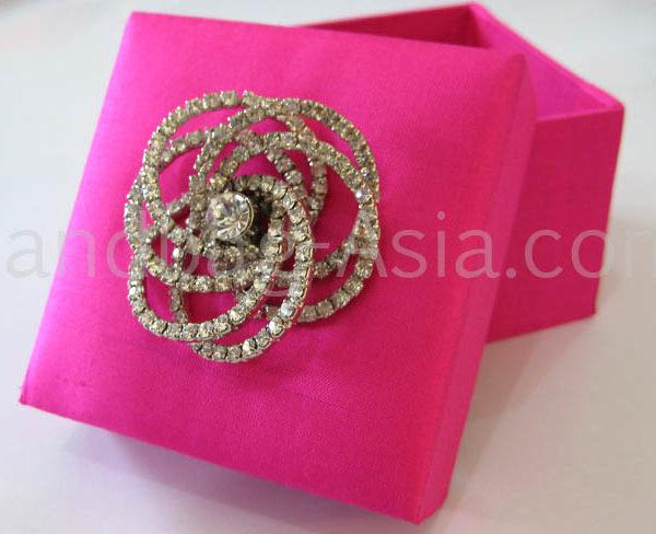 pink silk wedding favour box