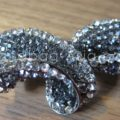 black rhinestone crystal bow brooch
