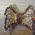 golden rhinestone crystal bow brooch