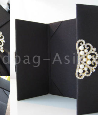 luxury wedding invitation folder in black