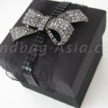 Black silk wedding favor box with bow