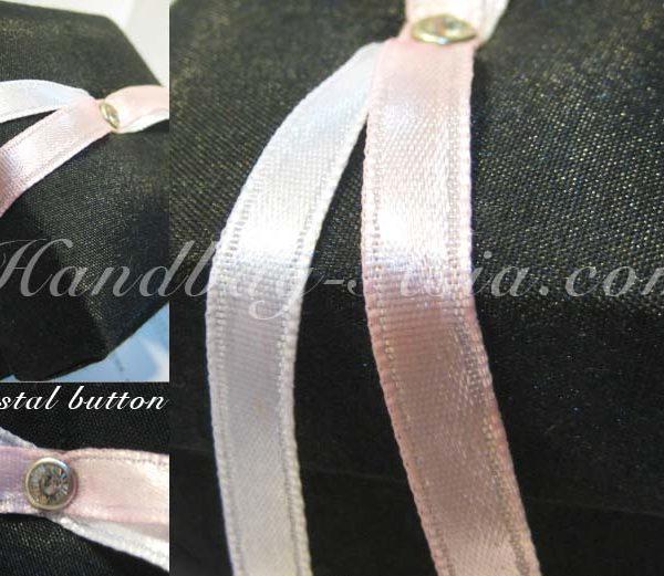Black wedding favor box with silk