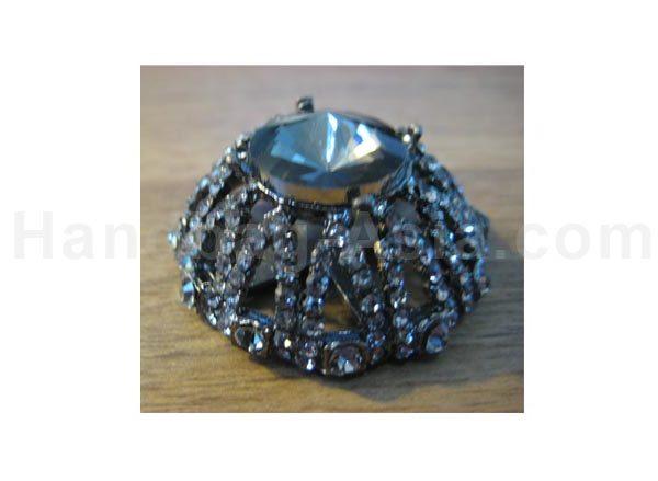 black crown crystal brooch
