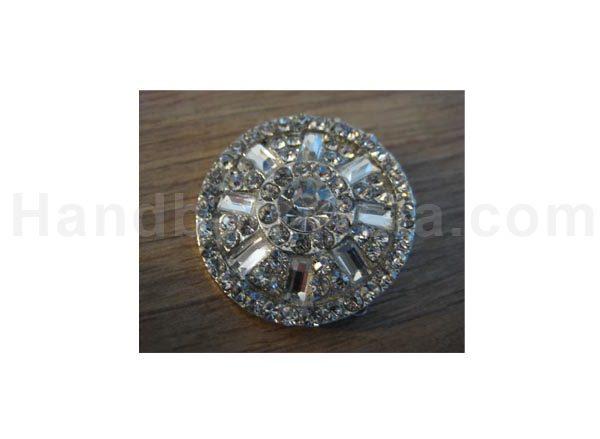 Round silver plated rhinestone brooch