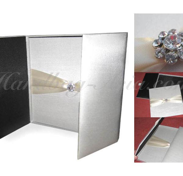 Black and white wedding invitation box