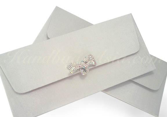 Embellished Off-White Silk Wedding Envelope