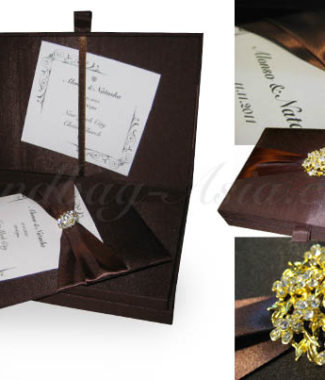 embellished chocolate color wedding box