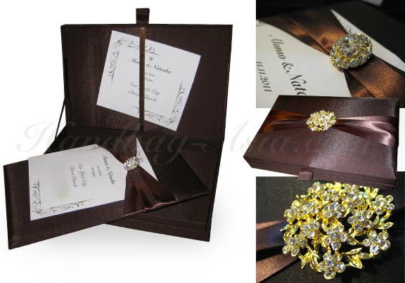 Boxed Wedding Invitations Wholesale: Chocolate Couture Invitation Design In Box Form