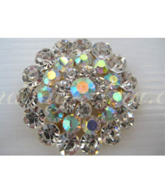 Round brooch with ab crystal