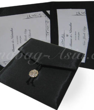black wedding pocket fold envelope