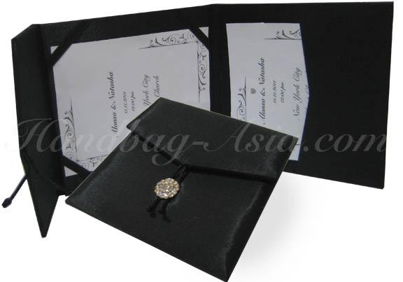 luxury black wedding invitation envelope folio with rhinestone