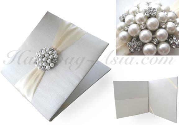 Ivory Pearl Brooch Wedding Invitation