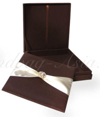 brown silk wedding box