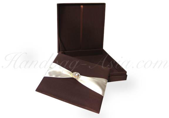 brown silk wedding box