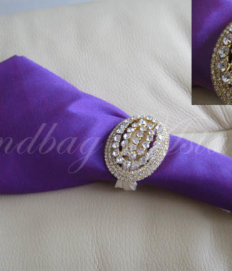 silk wedding napkin with crystal brooch