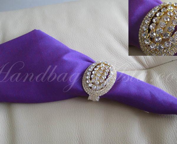 silk wedding napkin with crystal brooch