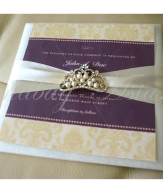 Embellished silk card with pearl crown brooch