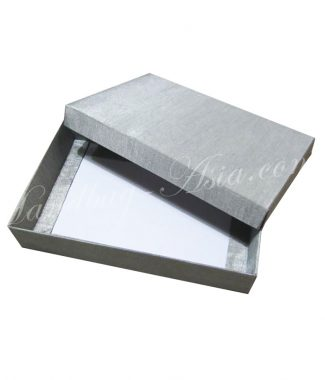 silver silk invitation box