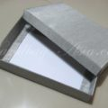 silver silk mailing box for invitations