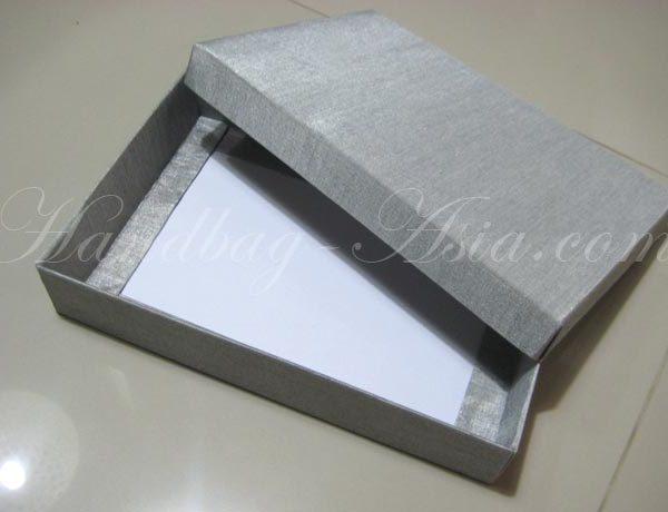silver silk mailing box for invitations