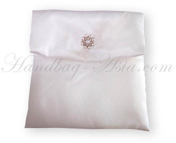 white wedding pouch