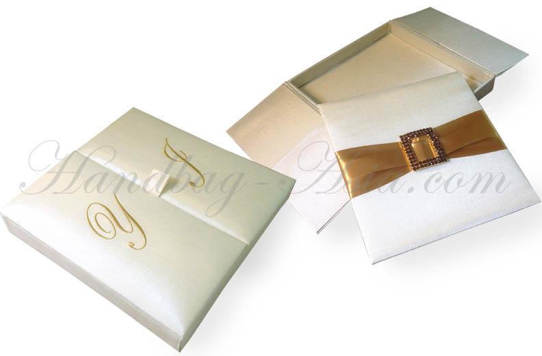 Boxed Wedding Invitations Wholesale: Monogram Embroidered Ivory Gate Silk Wedding Invitation