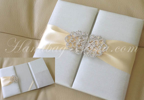 Embellished Ivory Silk Folio