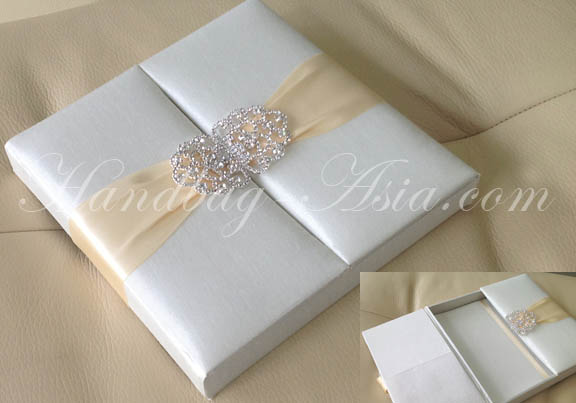 embellished ivory silk wedding box for invitation cards with clasp, Wedding invitations