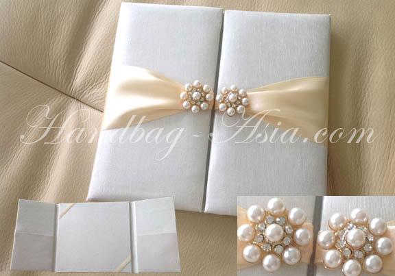 Ivory Pearl Wedding Folder Handbag Asiacom Luxury Invitations