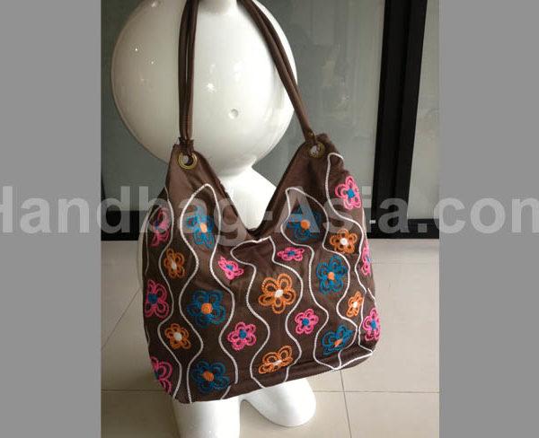 embroidered suede shoulder bag