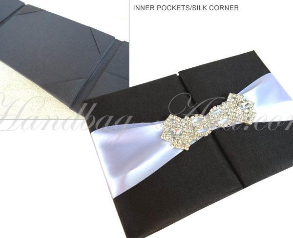 luxury black silk folder for invitations