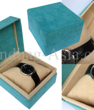 suede watch box with hinged lid