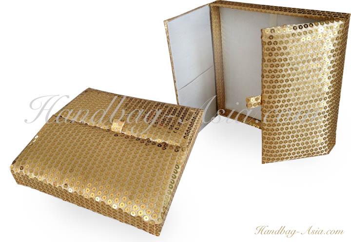 Boxed Wedding Invitations Wholesale: Golden Sequin Boxed Wedding Invitation For Your Cards