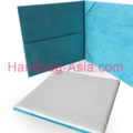 suede book fold invitation