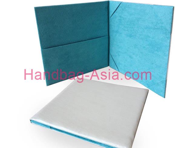 Suede Book Fold Invitation In White Tiffany Blue