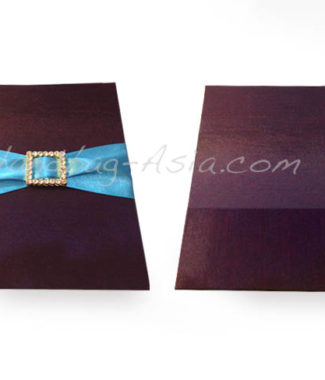 silk card pocket holder with buckle embellishment