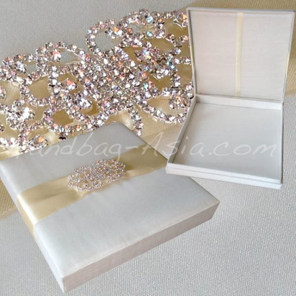 Large brooch embellished silk wedding box