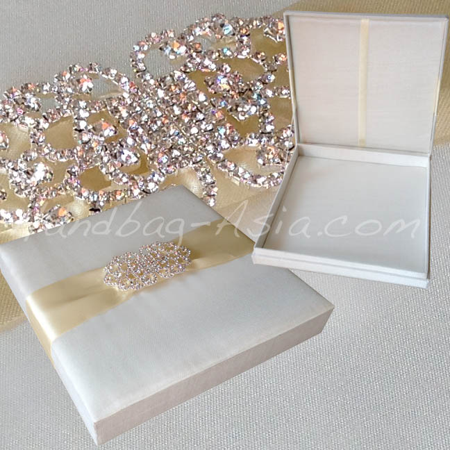 Large Brooch Embellished Silk Wedding Box